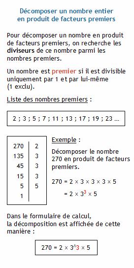 arithm u00e9tique  d u00e9composer un nombre entier en produit de facteurs premiers