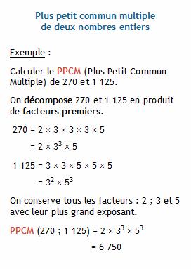 arithm tique calculer le ppcm plus petit commun multiple de deux nombres entiers. Black Bedroom Furniture Sets. Home Design Ideas