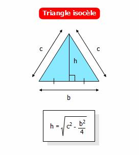 Calculer la hauteur d 39 un triangle isoc le connaissant sa for Calculer la surface d un escalier