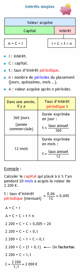 Calculer Le Capital Connaissant La Valeur Acquise Le Taux D Interet
