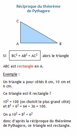 Réciproque du théorème de Pythagore. Un triangle est-il ...