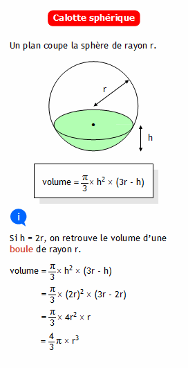 Calculer le volume d 39 une calotte sph rique - Calculer le volume d une piscine ...