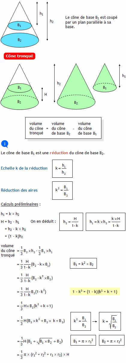 Calculer le volume d 39 un c ne tronqu for Calculer le volume d une maison
