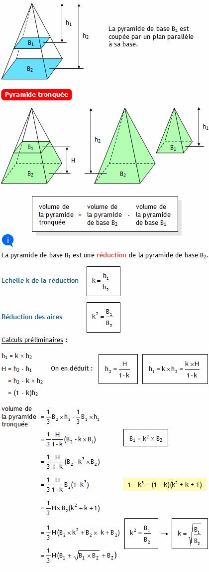 Calculer le volume d 39 une pyramide tronqu e - Calculer le cubage d une piscine ...