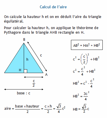Calculer le c t d 39 un triangle quilat ral connaissant son for Calculer son volume de demenagement