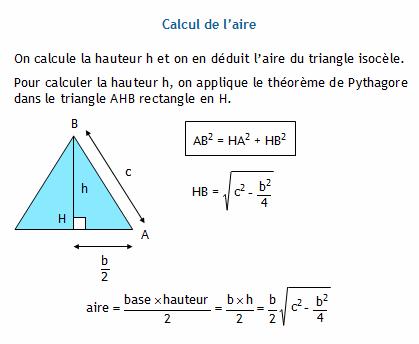 calculer l 39 aire d 39 un triangle isoc le connaissant sa base et ses deux autres c t s. Black Bedroom Furniture Sets. Home Design Ideas