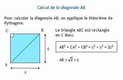 Calculer la diagonale d 39 un rectangle - Calcul diagonale carre ...
