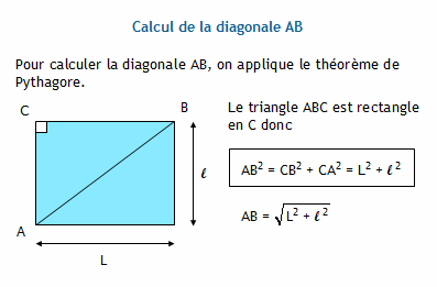 Formulaire de g om trie coll ge diagonale d 39 un rectangle - Calcul diagonale carre ...